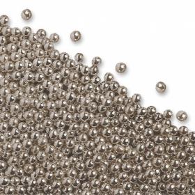 Hõbedased metallikläikega (pehmed) pärlid, söödavad, 4-5mm, 50g