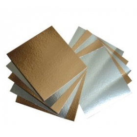 Kuldne/hõbedane 1mm kandiline tordipapp, 29x29cm