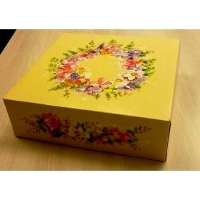 Lillemotiiviga tordikarp 34x34x11cm, ühes tükis
