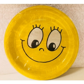 Pabertaldrikud 23cm, 10tk - Naerunägu (smiling face)